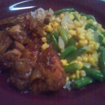 Spicy Chicken with rice and vegetables