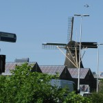Dutch windmill in the city
